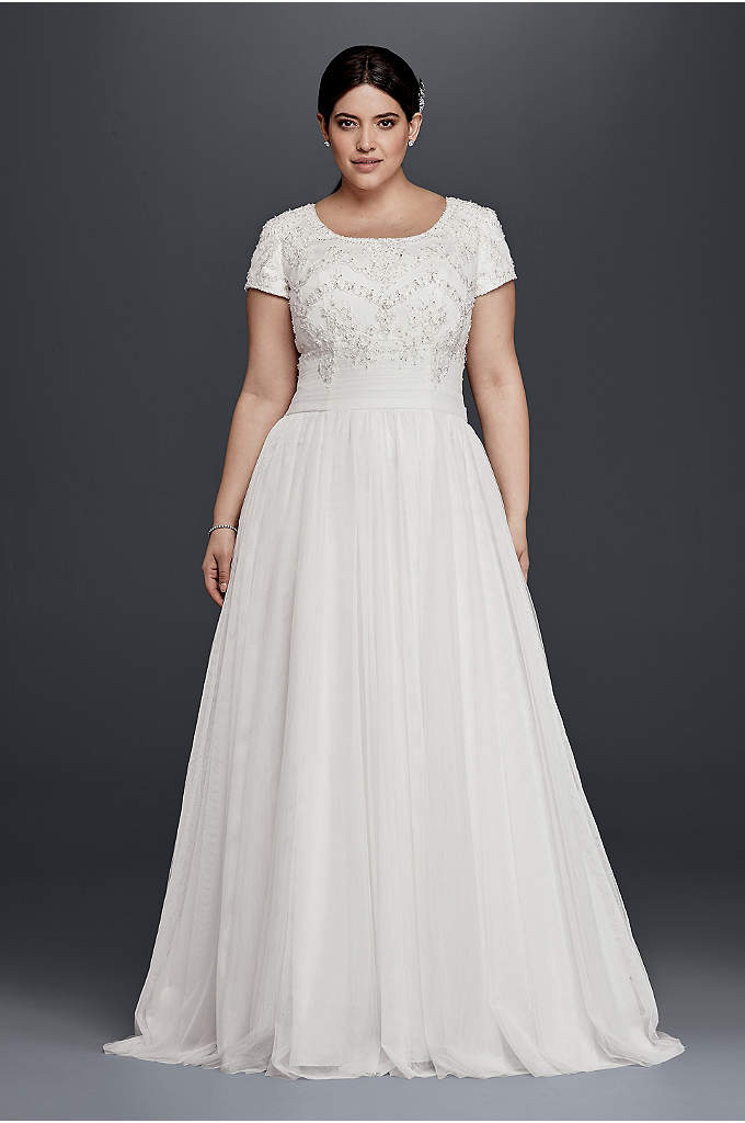 Modest Short Sleeve Plus Size A-Line Wedding Dress - Ethereal tulle elegantly flows out from the attached