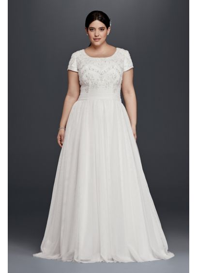 Modest short sleeve plus size a line wedding dress david for Modest a line wedding dresses