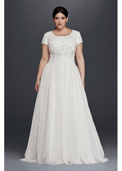 Modest Short Sleeve Plus Size A-Line Wedding Dress 9SLWG3811
