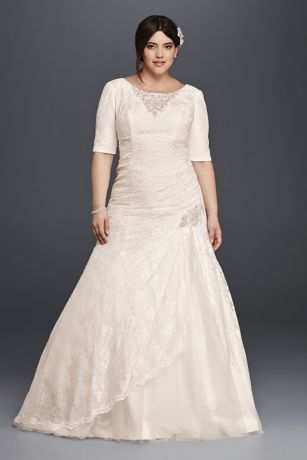 Plus Size Wedding Dress with Elbow Length Sleeves Davids Bridal