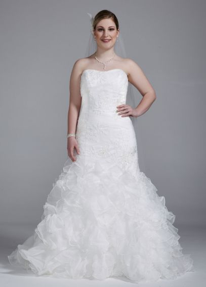 Wedding Gown with Lace Appliques and Ruffled Skirt 9SWG560