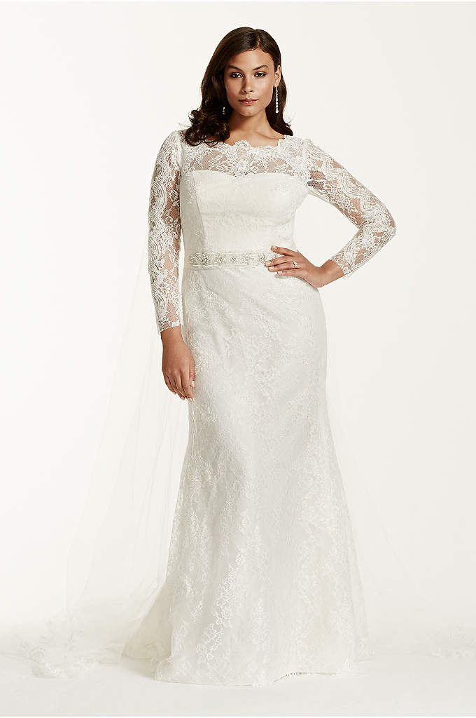 Lace Long Sleeve Sheath Gown with Beading - This long sleeve, lace sheath radiates elegance, class