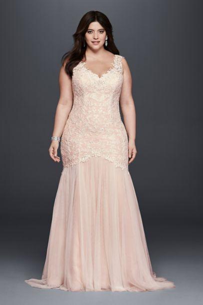 Beaded Trumpet Plus Size Wedding Dress - Davids Bridal