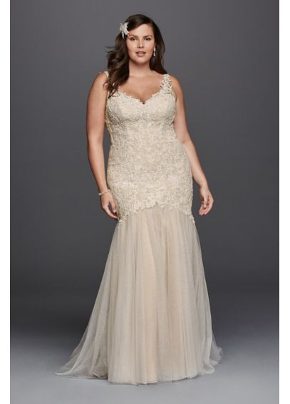 Plus size beaded trumpet wedding dress davids bridal for Plus size beaded wedding dresses