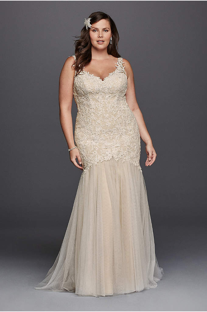 Beaded Trumpet Plus Size Wedding Dress