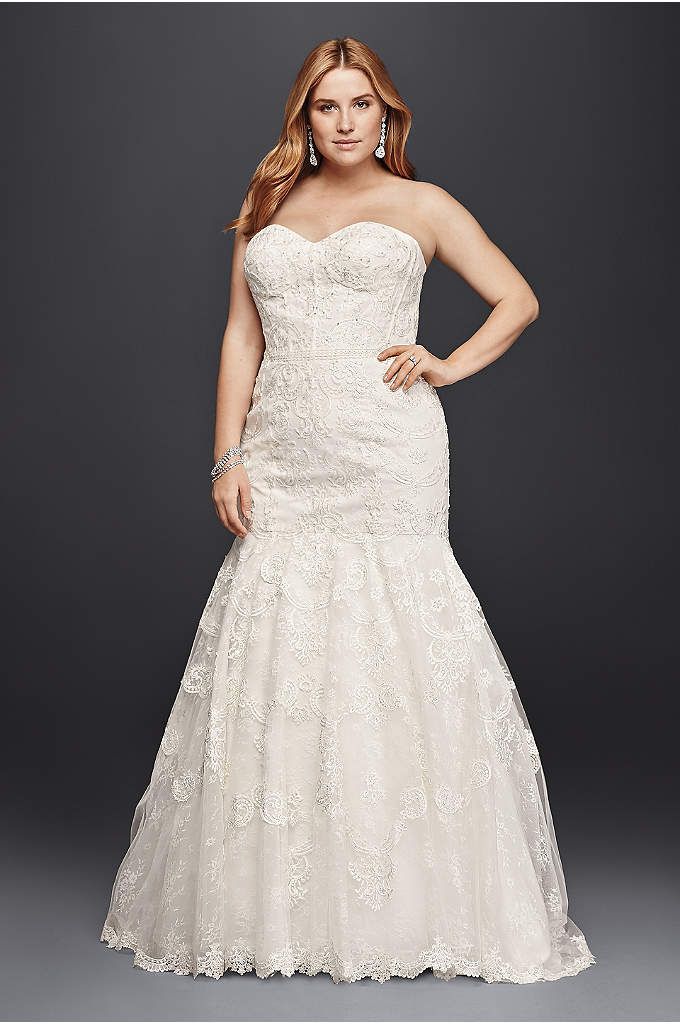 Corset Bodice Mermaid Lace Plus Size Wedding Dress - Five different styles of lace make up the
