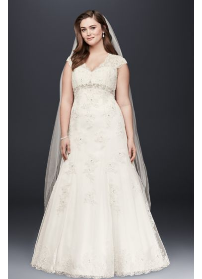 Cap sleeve lace over satin plus size wedding dress david for Plus size silk wedding dresses