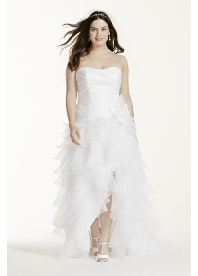 Taffeta High Low Ruffled Plus Size Wedding Dress 9T3505