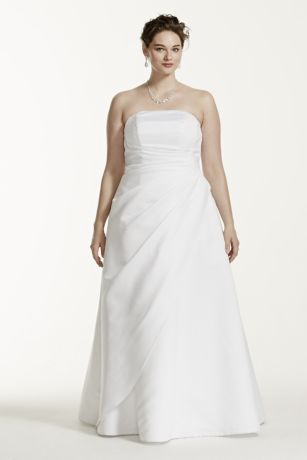Satin Asymmetrical Skirt Plus Size Wedding Dress - Strapless satin A-line gown with side-draped bodice and