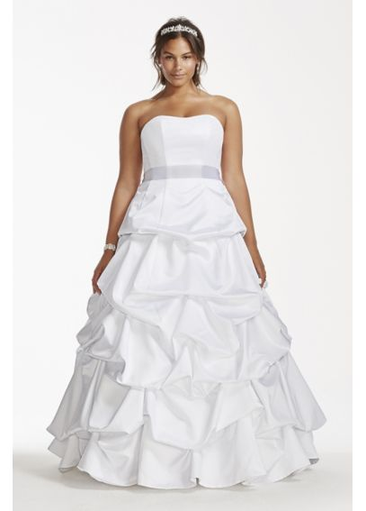 Strapless Satin Pick Up Plus Size Wedding Dress 9T9309