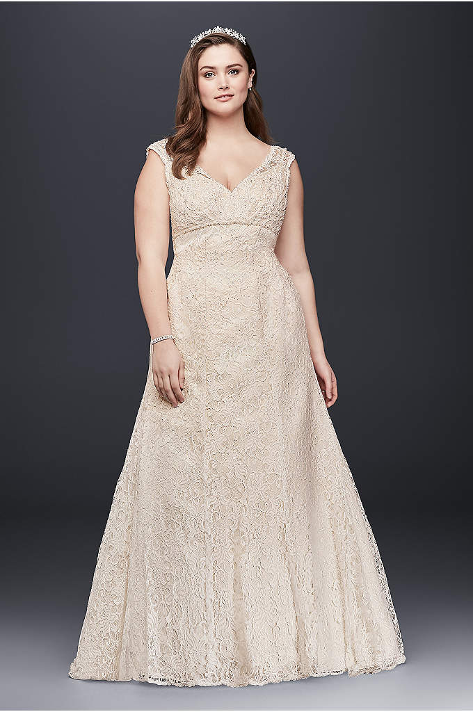 Beaded Cap Sleeve Lace Plus Size Wedding Dress - This gorgeous plus-size trumpet wedding gown, elegantly crafted