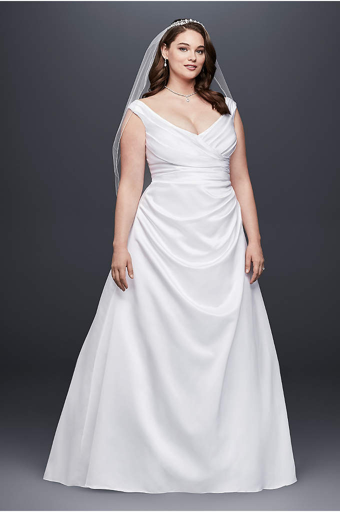 Off-the-Shoulder V-Neck Plus Size Wedding Dress - Side-draped bodice and off-the-shoulder neckline create a long,