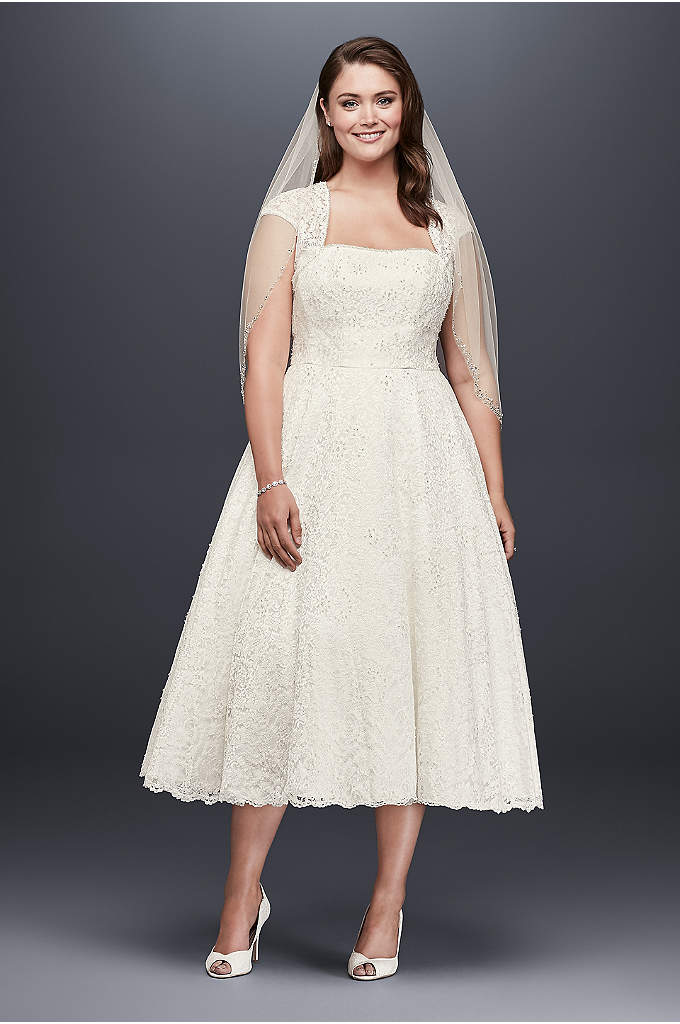 Tea-Length Plus Size Wedding Dress with Shrug - Designed with the contemporary bride in mind, this