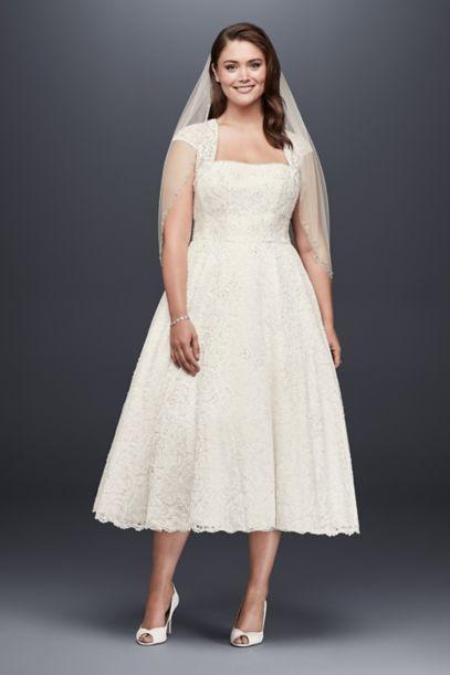 tea-length plus size wedding dress with shrug | david's bridal