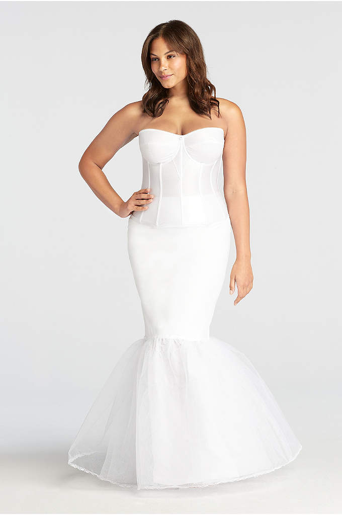 Plus size a line medium fullness 2 tier slip david 39 s bridal for What undergarments for wedding dress shopping