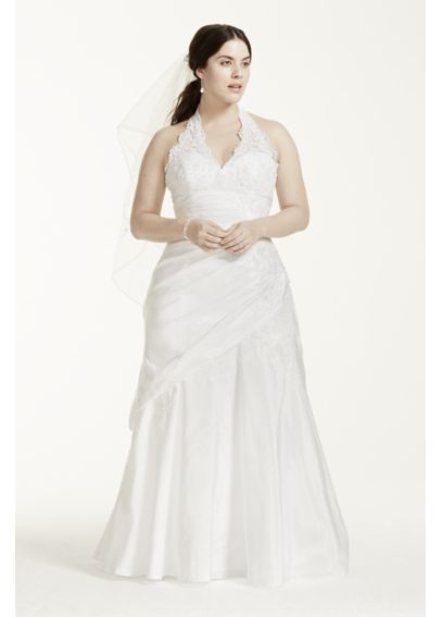 Taffeta Lace Halter A-Line Plus Size Wedding Dress 9V3194