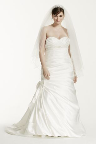 Black tie and white satin wedding dress