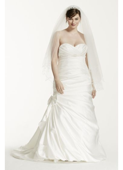 Satin Mermaid Plus Size Wedding Dress with Bow | David\'s Bridal