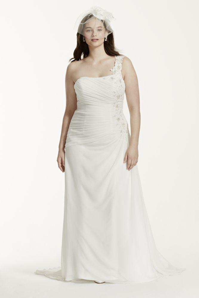 David 39 s bridal one shoulder chiffon plus size wedding for Plus size one shoulder wedding dress