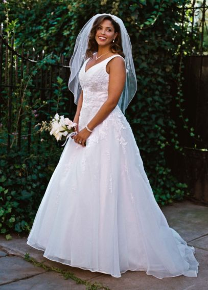 Organza A-Line Gown with Beaded Lace Appliques 9V3434