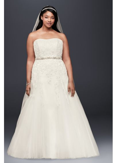 A-Line Beaded Tulle Plus Size Wedding Dress  9V3469