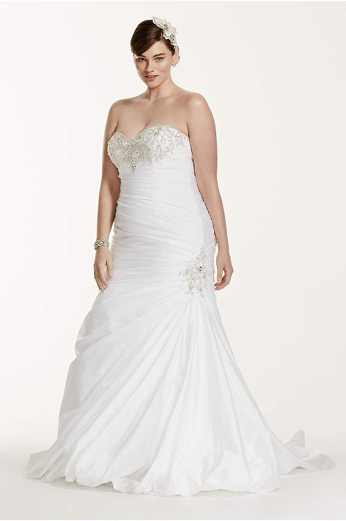 Taffeta Trumpet Plus Size Wedding Dress with Beads - Showcasing intricate accents in all the right places