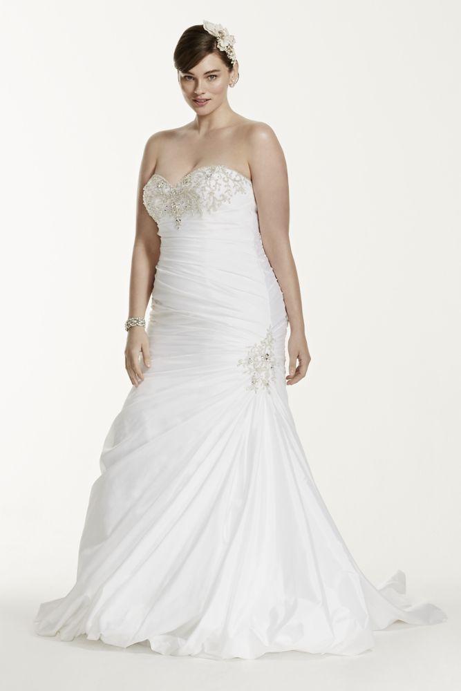 Taffeta Trumpet Plus Size Wedding Dress With Beads Style 9V3476