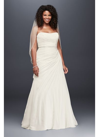 Crinkle chiffon draped plus size wedding dress davids bridal for Davids bridal beach wedding dresses