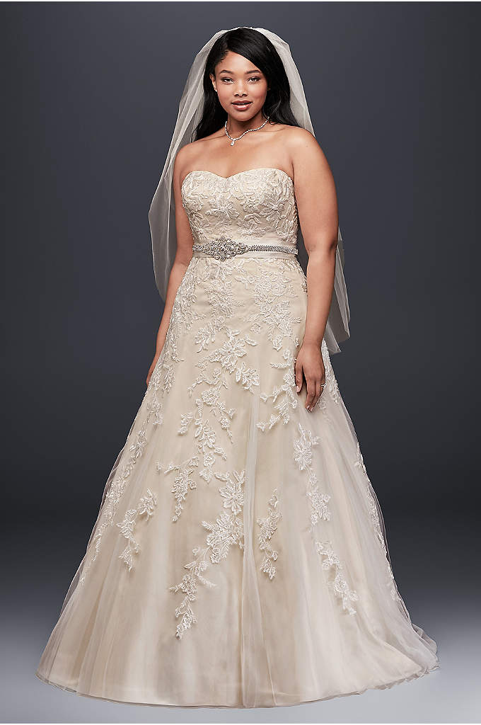 Tulle A-Line Plus Size Wedding Dress with Lace - This elegant plus-size wedding dress is perfect for