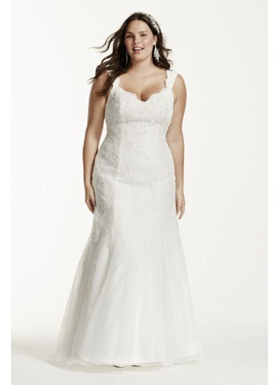 Tank Lace Plus Size Wedding Dress with Tulle Skirt | David\'s Bridal