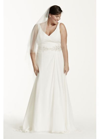A-Line Plus Size Wedding Dress with Beaded Waist  9V3677