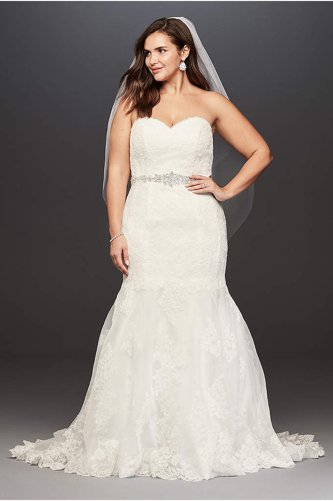 Bon Lace Plus Size Wedding Dress With Scalloped Hem   With A Feminine  Sweetheart Neckline And A