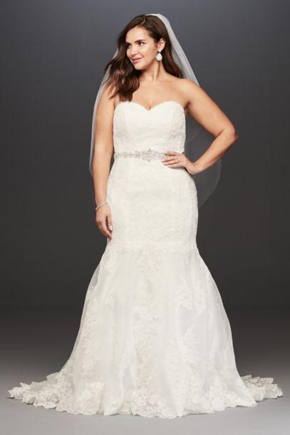 lace plus size wedding dress with scalloped hem | david's bridal