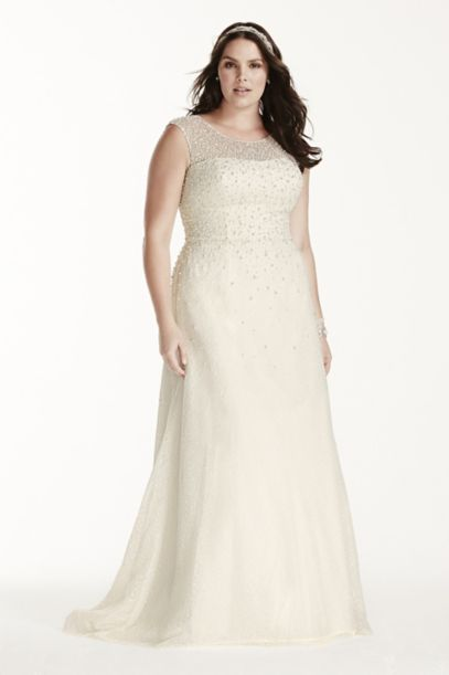 jewel cap sleeve pearl plus size wedding dress | david's bridal