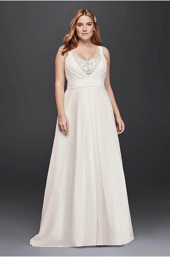 A-Line Plus Size Tank Wedding Dress - A layer of crystal peeks through the draped