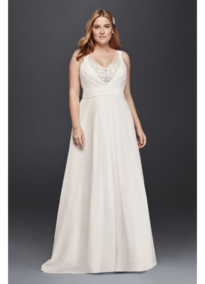 A line plus size tank wedding dress davids bridal for Davids bridal beach wedding dresses