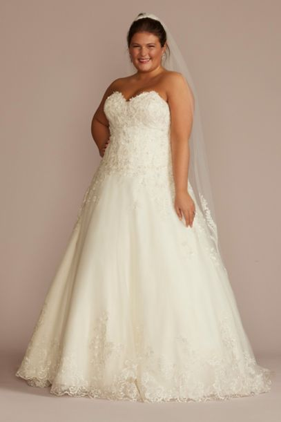 Beaded Lace and Tulle Plus Size Wedding Dress | David's Bridal