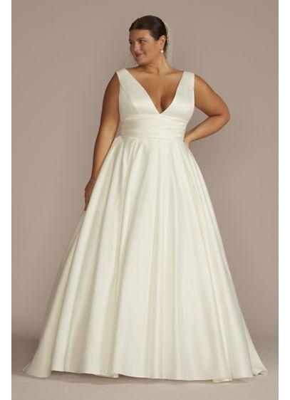 Satin cummerbund plus size wedding dress davids bridal for How to start a wedding dress shop