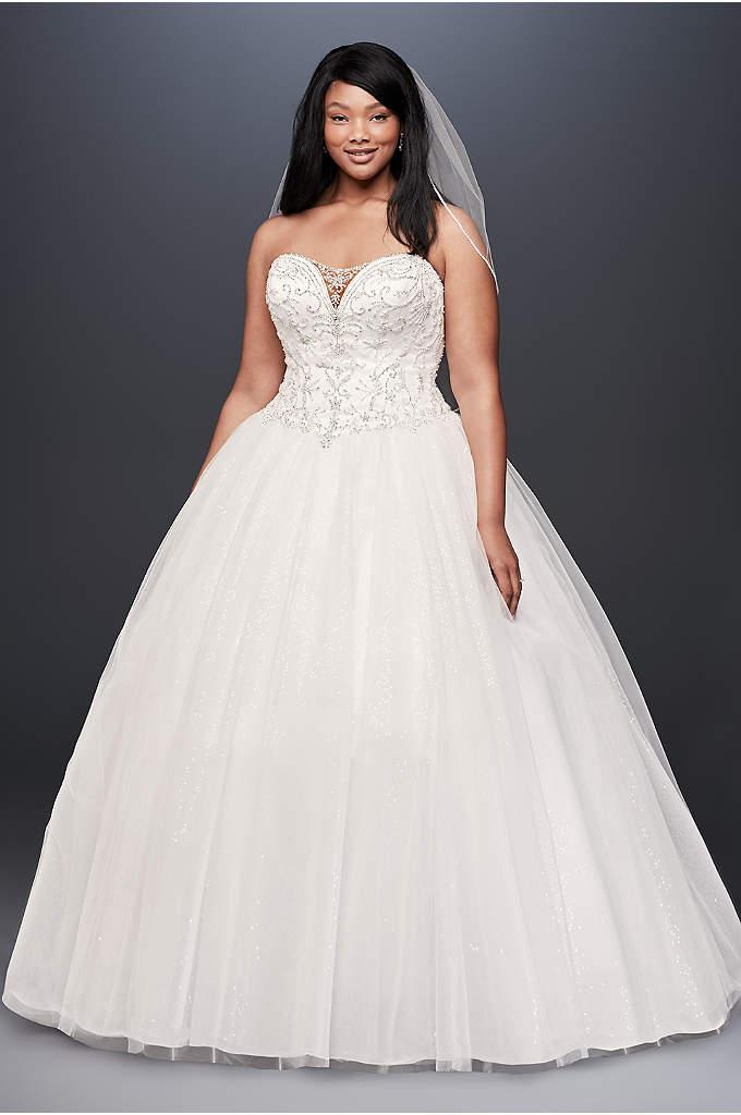 Rose gold a line plus size wedding dress david 39 s bridal for Ball gown plus size wedding dresses
