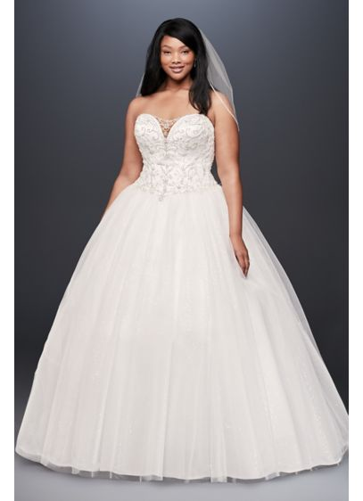 Beaded illusion plus size ball gown wedding dress david for Plus size beaded wedding dresses
