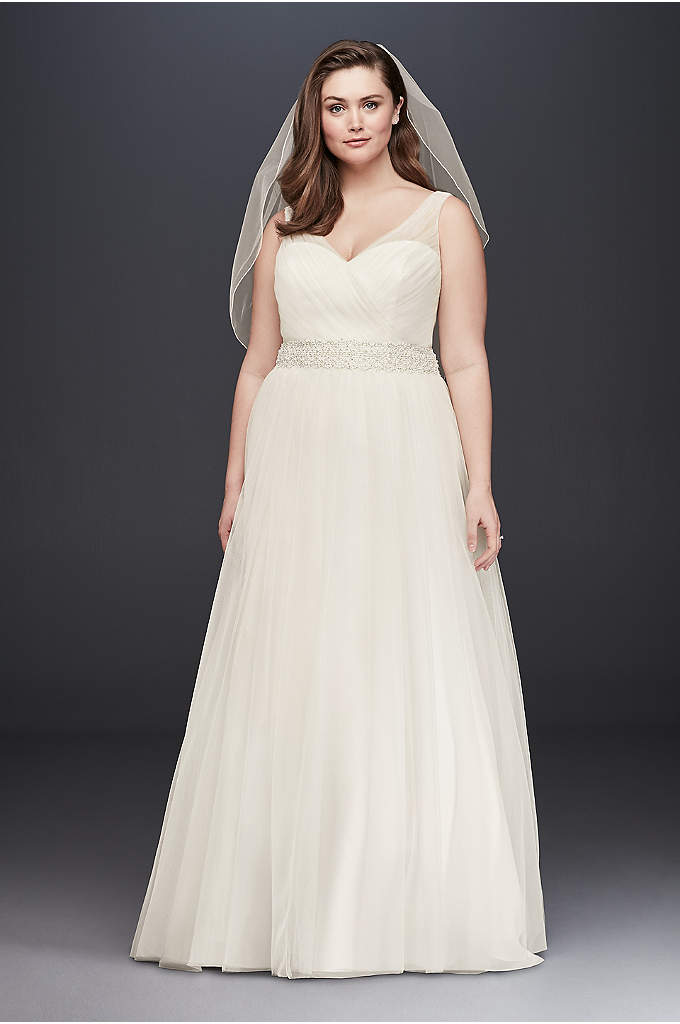 Tulle A-Line Plus Size Wedding Dress with Beading - Simple and elegant, this timeless tulle A-line plus-size