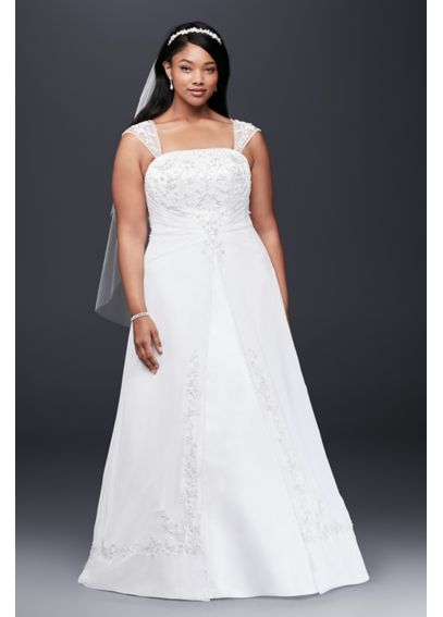 Plus Size A-Line Wedding Dress with Cap Sleeves 9V9010