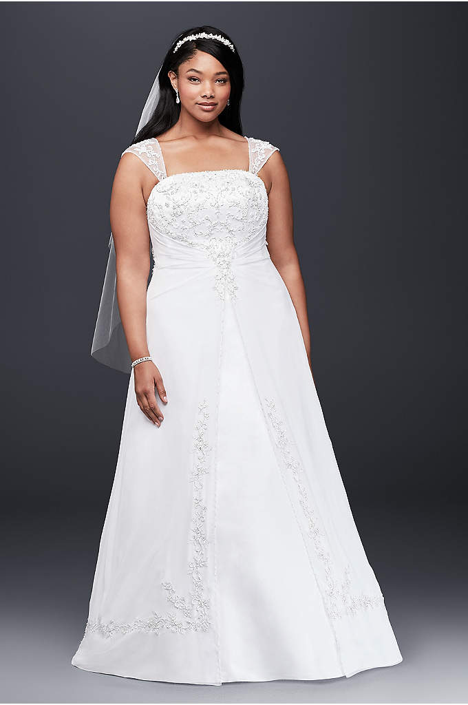 A-Line Plus Size Wedding Dress with Cap Sleeves - Designed with elegance in mind, this plus-size satin