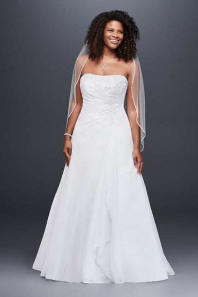 chiffon side drape a-line plus size wedding dress | david's bridal