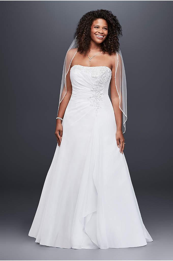Chiffon Side Drape A-line Plus Size Wedding Dress - Chiffon A-line gown with side draped bodice, beaded