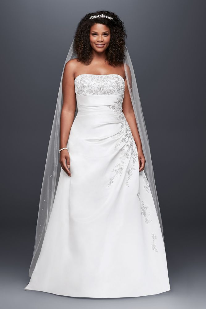 A line plus size wedding dress with lace up back style 9v9665 for Plus size a line wedding dresses
