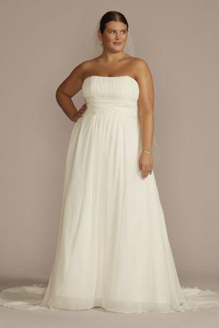 Chiffon Empire Waist Plus Size Wedding Dress Davids Bridal