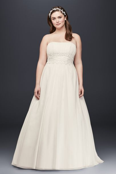 chiffon empire waist plus size wedding dress | david's bridal