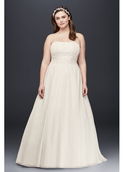 Chiffon empire waist plus size wedding dress davids bridal for Empire waist plus size wedding dress