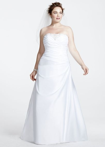 Satin Side-Draped A-Line Gown with Beaded Inset 9WG3153